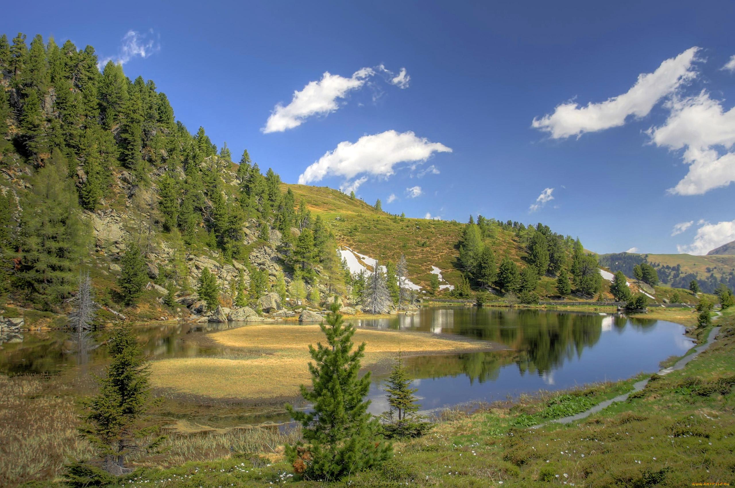 природа, реки, озера, озеро, пейзаж, деревья, облака, горы